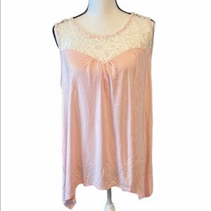 MISIA lace neck light pink top sleeveless size XL